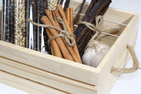 condiment: Spice herb, condiment in  basket