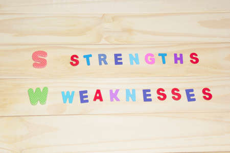 rubber sheet: the colorful word strengths and weaknesses on the wood background.