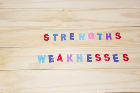 weaknesses: the colorful word strengths and weaknesses on wood background. Stock Photo