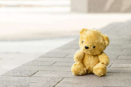bear s: Teddy Bear toy alone on table with copyspace Stock Photo