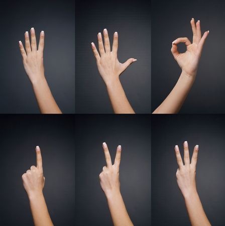 Counting woman hands (0 to 5) on black background Stock Photo - 4904083