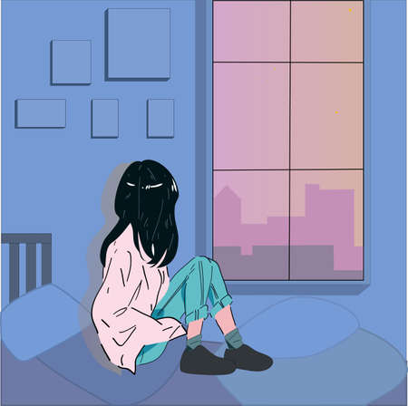 Sitting alone in the room at night