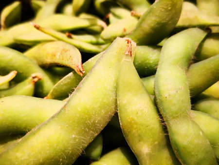 Edamame is pigeon peas, which is the one type of Japaneses pea. That have green pods and outer skin covering with hair. Must be boiled before eating.