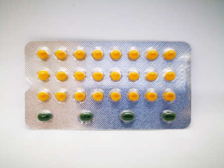 Medication and healthcare concept. Oral contraceptive drug. Stock Photo
