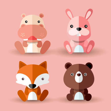 Set of Cute Wild Animal Icons