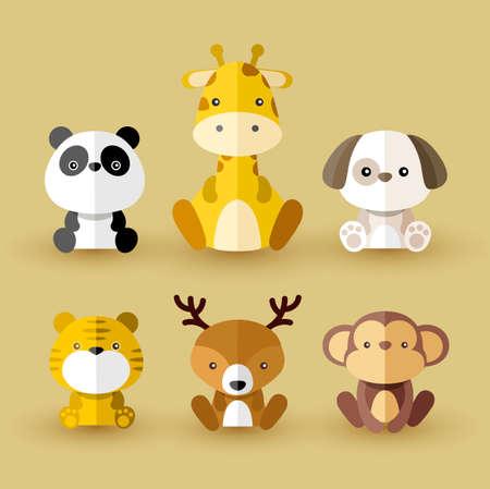 Set of Wild Animal Icons Vector Illustration Ilustração