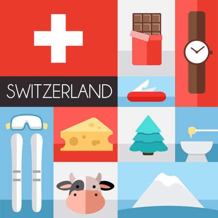Set of Switzerland icons.