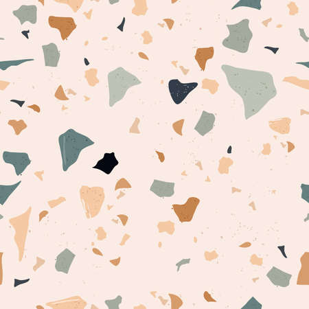 Set of Beautiful Terrazzo Seamless Pattern. Vector Illustration