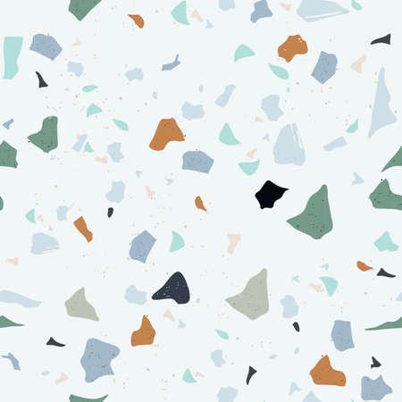 Set of Beautiful Terrazzo Seamless Pattern. Vector Illustration