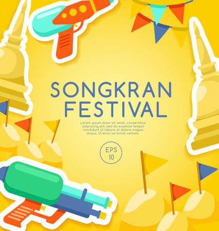 Songkran festival, Thai water festival elements, vector illustration.