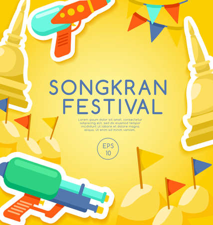 Songkran festival, Thai water festival elements, vector illustration.