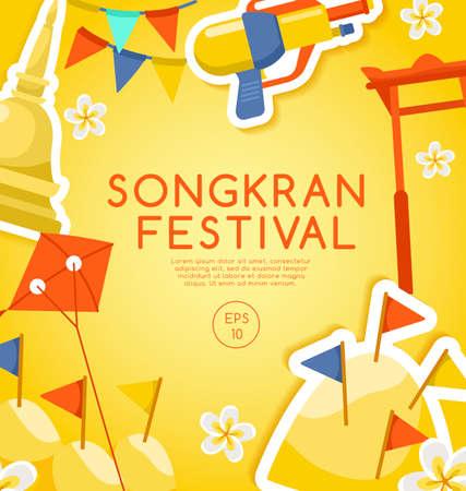 Songkran Festival : Thai Water Festival Elements : Vector Illustration