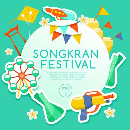 Songkran Festival, Thai Water Festival Elements. Vector Illustration. Vettoriali