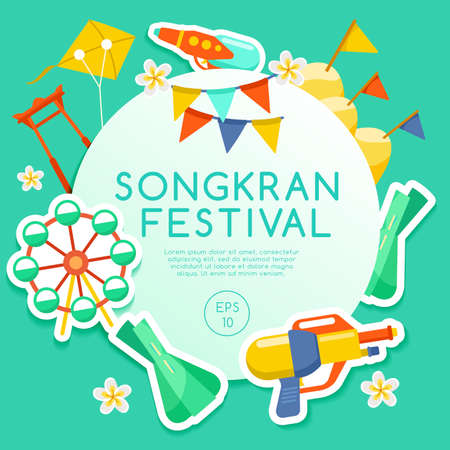 Songkran Festival, Thai Water Festival Elements. Vector Illustration.