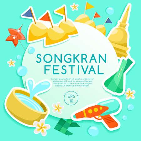 Festival Songkran: Elementos del Festival del Agua Tailandesa: ilustración vectorial