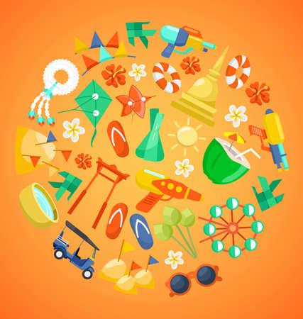 Songkran Festival banner with Thai Water Festival Elements  Vector Illustration
