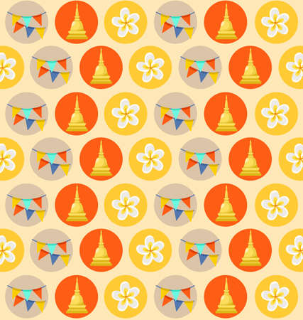 Songkran Festival : Thai Water Festival Elements : with bells and banners Vector Illustration
