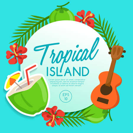 Tropical Island, Island Elements Vector Illustration design