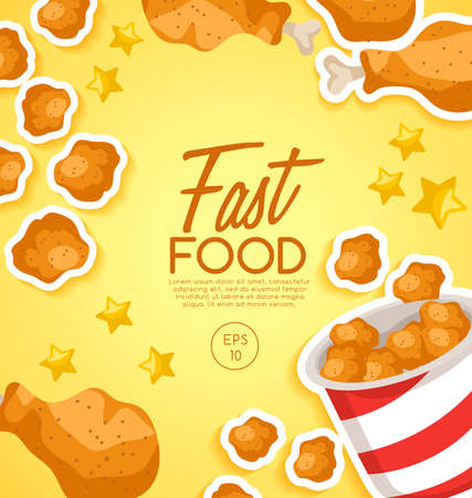 Fast Food Elements with fried chicken. 免版税图像 - 100398471