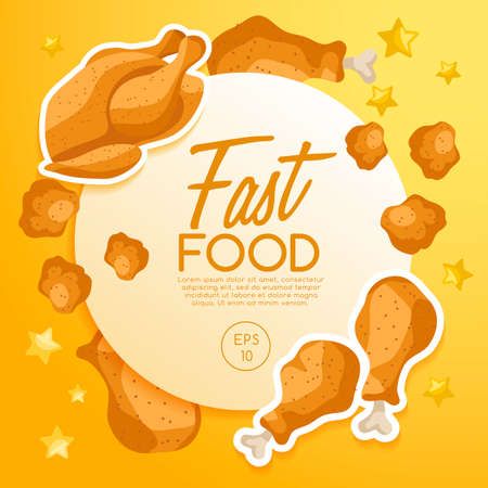 Fast Food Elements with fried chicken. Vector Illustration Çizim