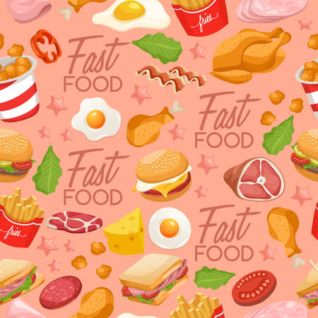 Fast Food Elements : Seamless Pattern : Vector Illustration  イラスト・ベクター素材