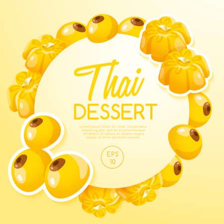 Thai Dessert in yellow background Vector Illustration