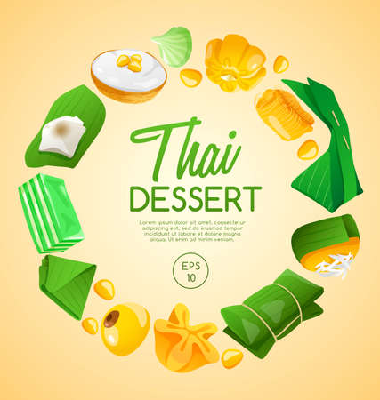Thai Dessert : Vector Illustration 版權商用圖片 - 100452781