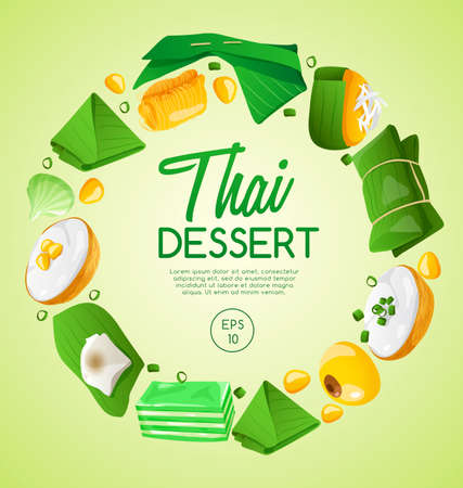 Thai Dessert in green background Vector Illustration