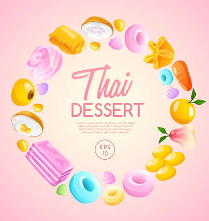 Thai Dessert in pink background Vector Illustration