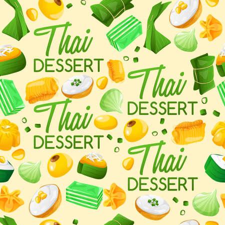 Postre tailandés de patrones sin fisuras: ilustración vectorial