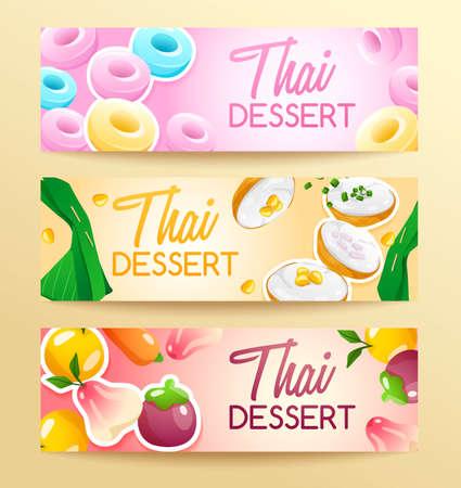 Thai Dessert : Horizontal Banner Template : Vector Illustration Illusztráció