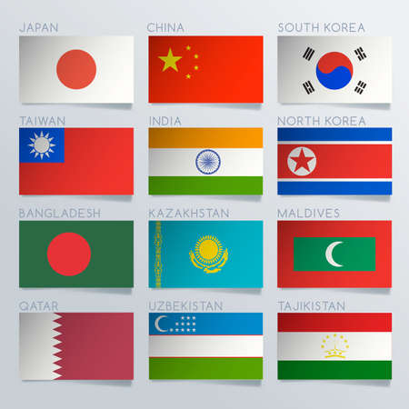 World Flag Ribbon Set : Vector Illustration Ilustrace