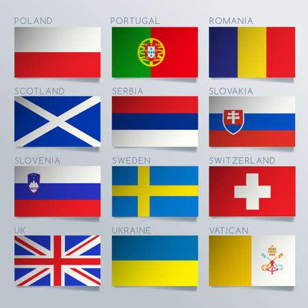 World Flag Ribbon Set : Vector Illustration Иллюстрация