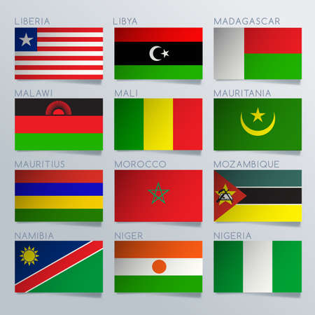 World Flag Ribbon Set : Vector Illustration 일러스트