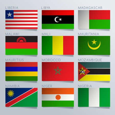 World Flag Ribbon Set : Vector Illustration 向量圖像