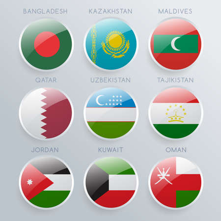 World Flag Icon Set : Vector Illustration Vectores