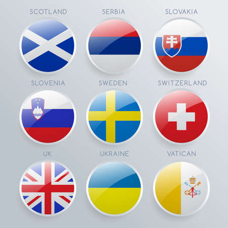World Flag Icon Set : Vector Illustration Illustration