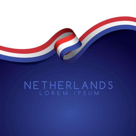 Netherlands Flag Ribbon : Vector Illustration