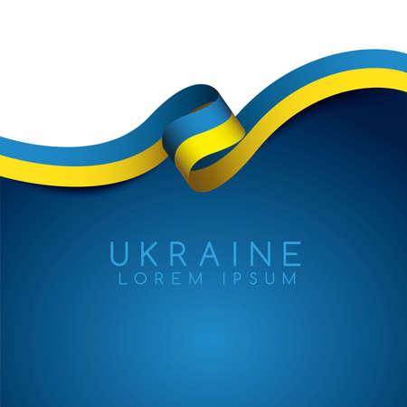 Ukraine Flag Ribbon : Vector Illustration