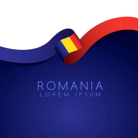 Romania Flag Ribbon : Vector Illustration