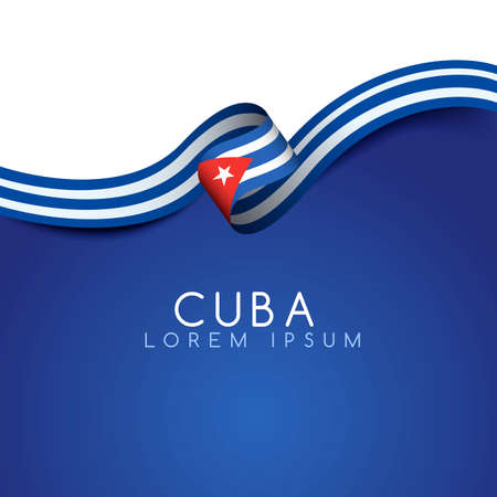 Cuba Flag Ribbon : Vector Illustration