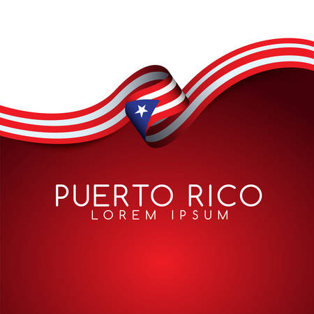 Puerto Rico Flag Ribbon : Vector Illustration Illustration