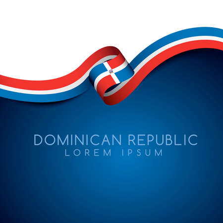 Dominican Republic Flag Ribbon : Vector Illustration