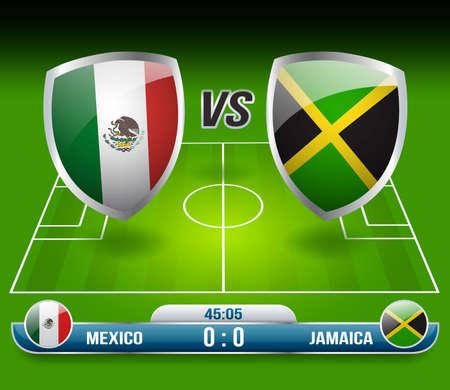 Mexico vs Jamaica Soccer Match : Vector Illustration Ilustração