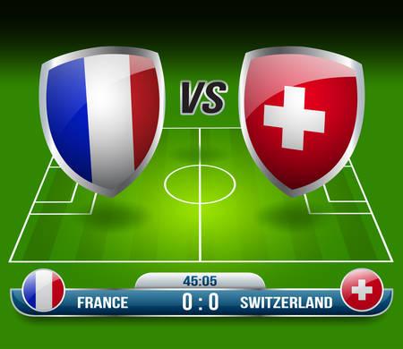 France vs Switzerland Soccer Match : Vector Illustration Ilustração