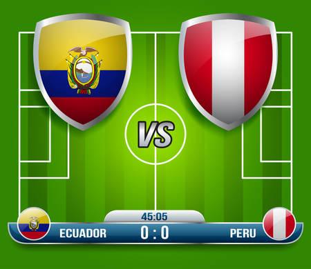 Ecuador vs Peru Soccer Match : Vector Illustration