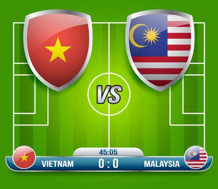 Vietnam vs Malaysia Soccer Match : Vector Illustration Ilustração