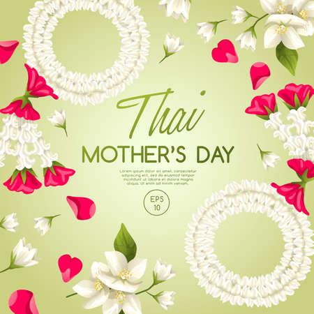 Plantilla de tarjeta de feliz día de la madre tailandesa con jazmín blanco: ilustración vectorial