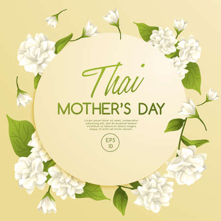 Happy Thai Mothers day card template with White Jasmine : Vector Illustration Illustration