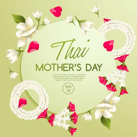 Glückliche thailändische Muttertagskartenschablone mit weißem Jasmin: Vektor-Illustration